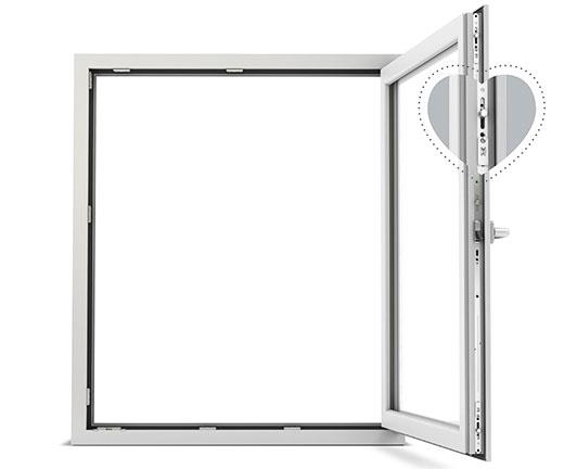 Querschnitt vom einbruchhemmenden Fenster, Siegenia | Seitz Manufaktur in Weigendorf